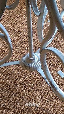 Round Shabby Chic Table Cream Painted Distressed Look French bistro Table