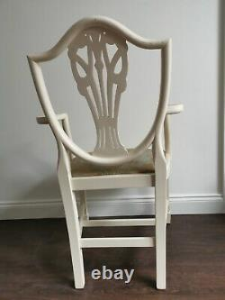 Set Of 6 French Louis Style Dining Chairs and Carvers Cream