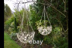 Set of 2 French Vintage Style Metal Hanging Baskets Flower Planters Shabby Chic
