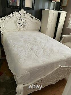 Shabby Chic Antique French Style White Double Bed, Stunning Wooden Headboard