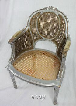 Shabby Chic Antique Painted French Louis XVI Double Caned Bergere Chair, c. 1900