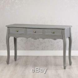 Shabby Chic Antique Style French Grey 3 Drawer Console Side Hall Table (gb549)