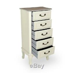 Shabby Chic Antique White Cream French Country 5-drawer Tall Boy Chest Drawers