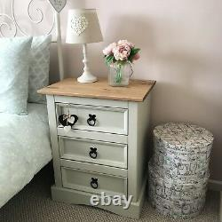 Shabby Chic Bedside Cabinet In Farrow & Ball French Grey Solid Pine Drawers Next