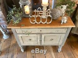 Shabby Chic Cabinet In Annie Sloan French Linen And Country Grey