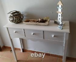 Shabby Chic Console Table Vintage Storage Furniture 3 Drawers French Hallway