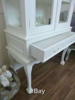 Shabby Chic Display Cabinet High Leg French Two Door Glass Display Cabinet