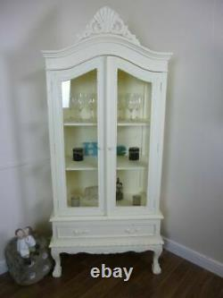 Shabby Chic Display Cabinet In Cream -Two Door Glass Display French Style Unit