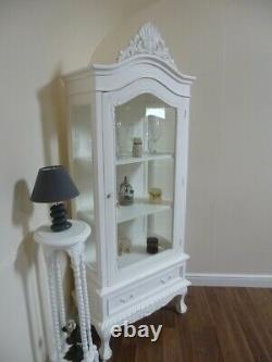 Shabby Chic Display Cabinet In White One Door French Style Glass Display Unit