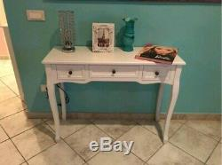 Shabby Chic Dressing Table Hall Console Table White Vanity Desk French 3 Drawers