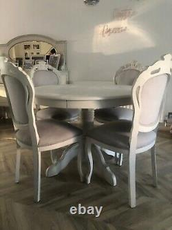 Shabby Chic / French Antique Style Extending Dining Table And Chairs