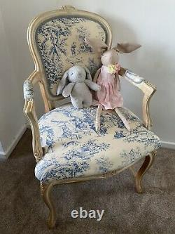 Shabby Chic French Louis Chair Carver Blue Toile Vintage Antique Country Bedroom