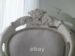 Shabby Chic French Louis Style Accent Chair Natural Linen