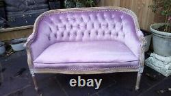 Shabby Chic French Style Bedroom Small Sofa Lilac Velvet excellent condition