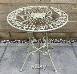 Shabby Chic French Style Cream Metal Garden Bistro Set Table & 2 Chairs