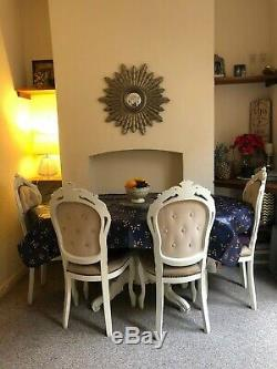 Shabby Chic French Style Dining Table and 6 Dining Chairs, Solid Heavy Wood