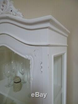 Shabby Chic French Style Display Cabinet In White One Drawer One Door Display
