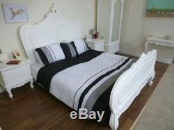 Shabby Chic Style French Double Bed In White Handmade & Hand Carved