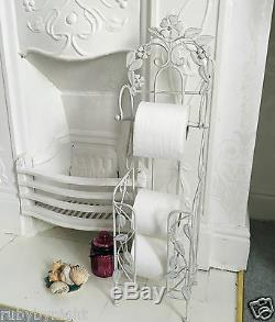 Shabby Chic Toilet Roll Holder Stand French Vintage Free Standing With Storage