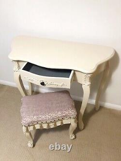 Shabby Chic Vintage French Antique Style Dressing Table Mirror & Stool Set