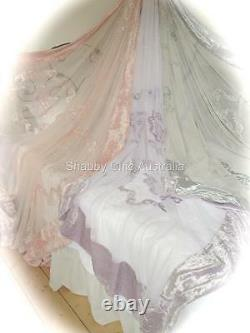 Shabby French Country Antique Pink Chic Lace Velvet King Bed Quilt Bedspread New