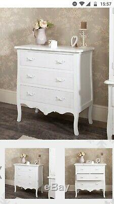 Shabby chic, French style, white chest of drawers