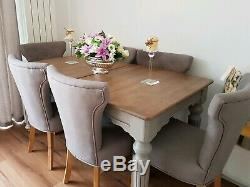 Shabby chic french style modern Dinning extendable table and 6 chairs was £1800