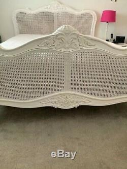 Shabby chic french style white wood and rattan king bed frame
