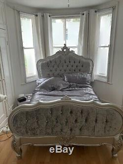 Silver Handmade French Double Bed Shabby Chic Ornate Glamour Rococo Palais