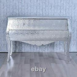 Silver Metal Embossed French Styled Large Bombe Chest of Drawers