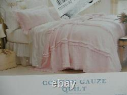 Simply Shabby Chic Pink Raw Edge Quilt King FRENCH FARMHOUSE NEW NWT