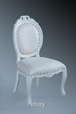 Statement Shabby chic Antique White Cream Ivory French Dining Diner Arm Chair