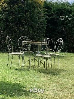 Stunning French Vintage shabby chic Garden Metal Table And Chair Set