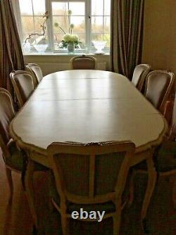 Table & Chairs 8 Seater Cream Louis Style French Shabby Chic, Extendable, Chic