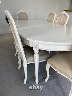 Table & Chairs 8 Seater Whiite French Shabby Chic, Extendable, Chic