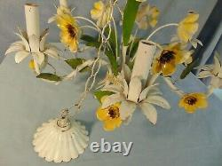 Toleware Chandelier 6 Arm Retro Shabby Chic Metal Painted Flowers French Vines