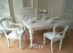 UNIQUE French Antique Shabby Chic Dining Table & Five Chairs