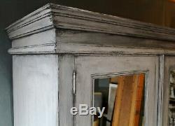 Upcycled painted solid pine mirrored double wardrobe french grey shabby chic
