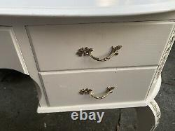 VINTAGE SHABBY CHIC FRENCH LOUIS STYLE DRESSING TABLE WITH MIRROR & Stool