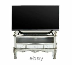 Venetian Mirrored TV Stand Antique French Style Drawers Media Storage TV Cabinet