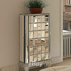 Venetian Mirrored Tall Boy French Style Chest Drawer Vintage Cabinet Furniture