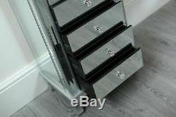 Venetian Mirrored Tall Boy French Style Mirror Chest of 6 Drawer Tallboy Chic