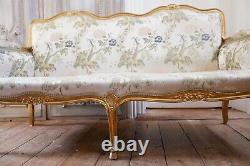 Vintage 2/3 Seater Sofa Settee FRENCH Louis Shabby Chic Cream GOLD Gilt Throne