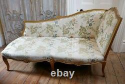 Vintage CHAISE Longue FRENCH Louis Shabby Chic Cream GOLD Gilt Throne Right Side