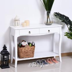 Vintage Console Table Shabby Chic Furniture French White Hallway Storage Drawers