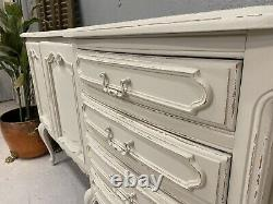 Vintage Five Section French Sideboard/ Oak Painted Shabby Chic Style