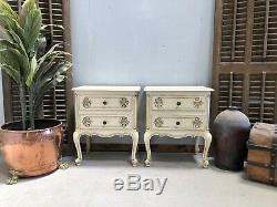 Vintage French Bedside tables / Original Painted Shabby Chic Style