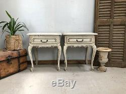 Vintage French Bedside tables / Painted Shabby Chic Style
