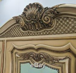 Vintage French Carved 3 door shabby chic Armoire Wardrobe