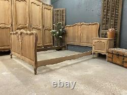 Vintage French Double / King size bed/ Sandblasted French bed shabby chic style